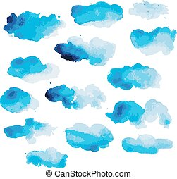 aquarelle, nuages, conception, ton