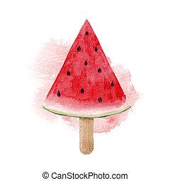 aquarelle, pastèque, illustration