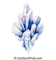 aquarelle, pastel coloré, cristaux