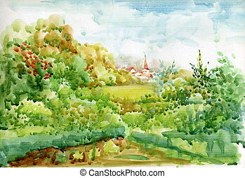 aquarelle, paysage, collection
