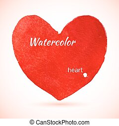 aquarelle, peint, coeur rouge