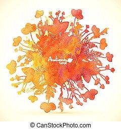 aquarelle, peint, feuilles, automne, vecteur, bannière