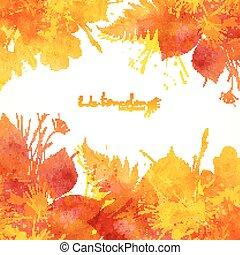 aquarelle, peint, feuilles, automne, vecteur, fond