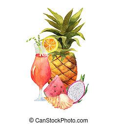 aquarelle, peint, fruits., collection