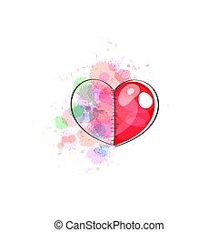 aquarelle, peint, rose, coeur