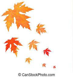 aquarelle, peint, vecteur, le, orange