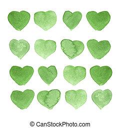 aquarelle, peint, vert, coeur, élément, pour, ton, conception