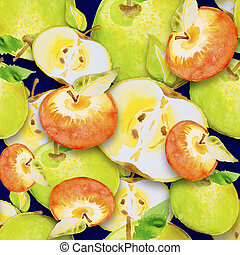 aquarelle, pomme, illustration