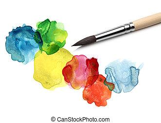 aquarelle, résumé, cercle, peinture, brosse