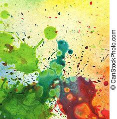 aquarelle, résumé, tache, peinture, fond