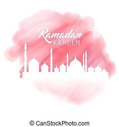aquarelle, ramadan, fond