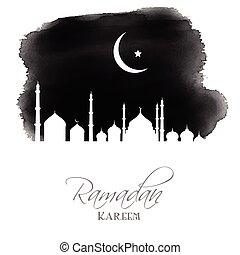 aquarelle, ramadan, fond, kareem