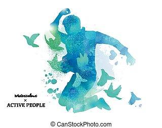 aquarelle, sauter, silhouette