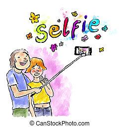 aquarelle, selfie, numérique