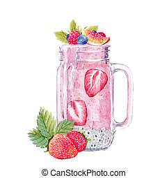 aquarelle, smoothie, illustration