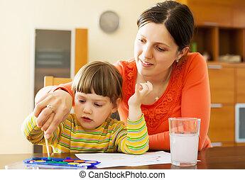 aquarelle, tableau enfant, elle, mère