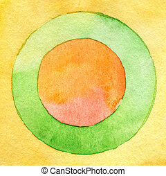 aquarelle, tableauabstrait, cercle