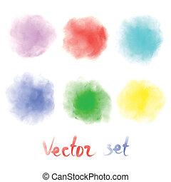 aquarelle, taches, coloré, brouillé