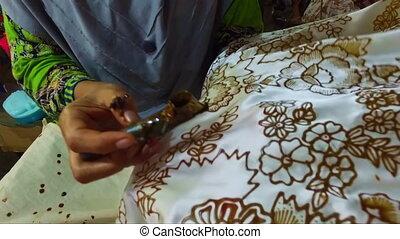 aquarelle, tissu, faire, indonésie, batik, peinture