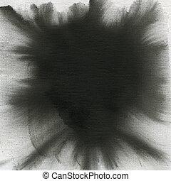 aquarelle, toile, noir, résumé, texture
