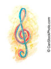 aquarelle, triple, multicolore, clef, g