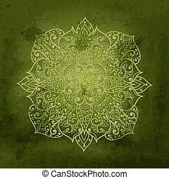 aquarelle, vecteur, arrière-plan vert, snowflake blanc