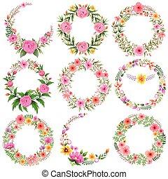 aquarelle, vendange, cadre, floral