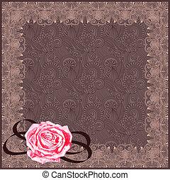 aquarelle, vendange, cadre, floral, rose