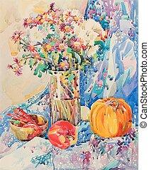 aquarelle, vie, encore, fleurs, original