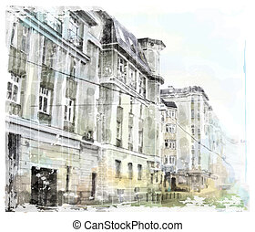 aquarelle, ville, illustration, scape