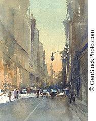 aquarelle, ville, moderne, rue, vue