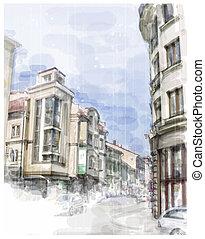 aquarelle, ville, rue., illustration, style.