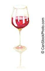 aquarelle, vin verre, dessiné, main