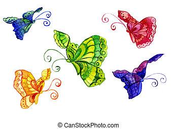 aquarelles, de, les, papillon, de, les, divers, couleur