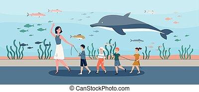 aquarium, abbildung, oceanarium., kinder, vektor, lehrer, oder