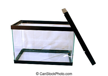 an empty aquarium isolated on a white background