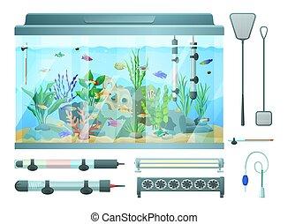Aquarium and Devices Set, Vector Illustration