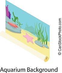 Aquarium background icon, isometric style