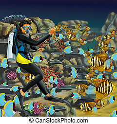 Aquarium Diver surrounded by a reef with scools of bright yellow & blue fish