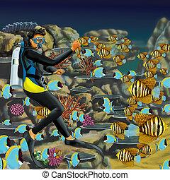 Aquarium Diver with Fish