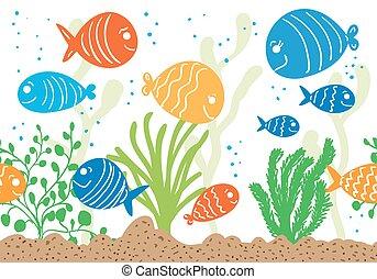 Aquarium doodle seamless pattern. Underwater tropical fish...