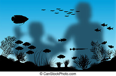 Editable vector illustration of blurred mother and son looking at fish in an aquarium with background made using a gradient mesh
