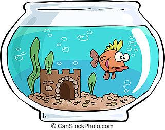 Aquarium - An aquarium with small fish vector illustration