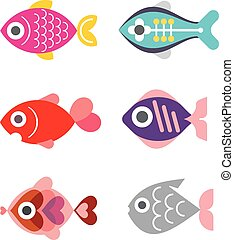 Exotic Fishes - Aquarium Exotic Fishes - set of color vector...
