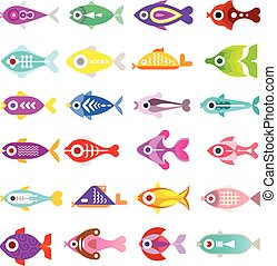 Aquarium Fish Vector Icons