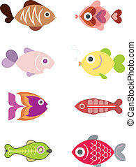 Ornamental aquarium fishes - set of color vector illustrations, isolated design elements on white background.