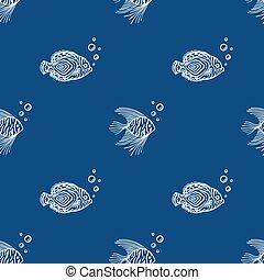 aquarium, gebrauch, geschäfte, klassisch, markt, farbe, seaquarium, design, blue., fische, hintergrund., reizend, muster, bubbles., meer, plan, blaues, seamless