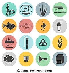 Aquarium Icons - Set of modern flat aquarium icons - fish...