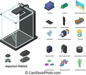 Aquarium icons set, isometric style