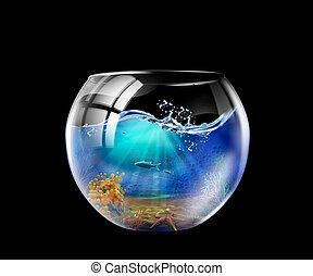 Aquarium - Illustration of an aquarium with many fish in it
